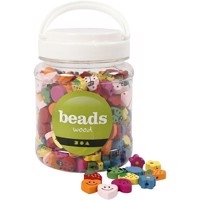 Beads - Box of 700 ml. - Shaped Wooden Beads - Approx. 325 pc