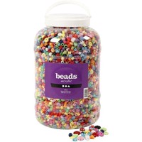 Bucket of Plastic Beads - Size 6-20 mm - Hole Size 1 - 5-6 mm - 3000 g - 5700ml - Approx. 8100 pcs