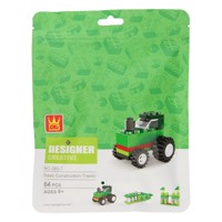 Building blocks 3in1 Green - Tractor, Crocodile, Greenhouse, 64 pcs.
