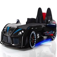 Charged speed car bed w led light and sound black