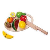 Classic World Wooden Sliced Fruit with Cutting Board, 17 pcs