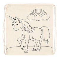 Color your own cotton gymbag unicorn