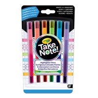 Crayola Take Note Highlighter with fine writer, 6 pcs