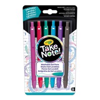 Crayola Take Note Washable Gel Pens, 6 pcs