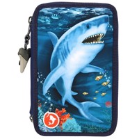 Dino World - Triple Pencil Case With LED - Underwater