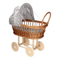 Doll Pram With Pillows  Checkered Gray