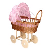 Doll Pram With Pillows  Checkered Pink