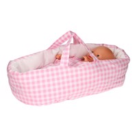 Dolls Carrycot  Checkered Pink