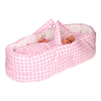 Dolls Carrycot Large  Checkered Pink