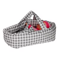 Dolls Carrycot Small  Checkered Gray
