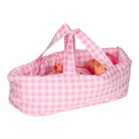 Dolls Carrycot Small Checkered Pink