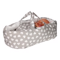 Dolls Travel Cot  Gray With Hearts