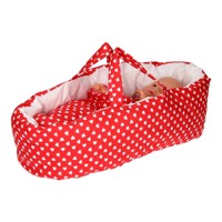 Dolls Travel Cot  Red With Hearts