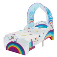 Unicorn and rainbow wooden junior bed w baldakin and storage