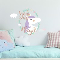 Enhjørning / Unicorn ''You are Magic'' Gigant Wallsticker med glitter