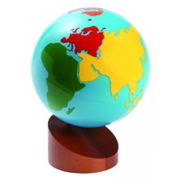Globe with continents in color