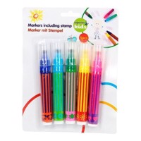 Highlighter with stamp, 5 PCs