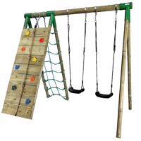 Hörby Bruk wooden active climb swing set w climbing net
