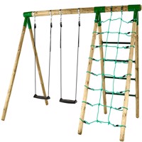 Hörby Bruk wooden active swing set w climbing net