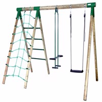 Hörby Bruk wooden skyride swing set w climbing wall