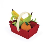 Janod - Fabric Basket With 8 Fruits