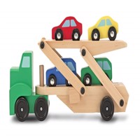 Melissa  Doug  Wooden Car Transporter and 4 Cars 14096