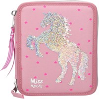 Miss Melody Tripple Pencilcase W Sequince Pink