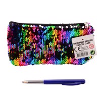 Pencil case rainbow with sequins