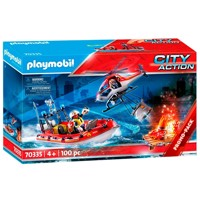 Playmobil 70335 fire brigade mission with helicopte rand boat
