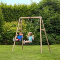 Plum wooden dobbelt swing set