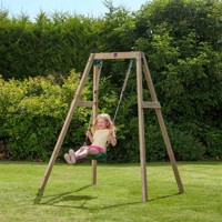 Plum wooden garden single swing set