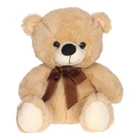 Plush Bear with Bow, 25cm  Beige