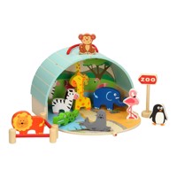Portable zoo playset wood