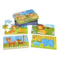 Puzzles in storage tin 4 in 1 safari