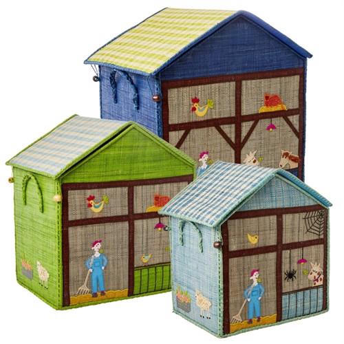 Rice Large Set Of 3 Toy Baskets Farm Theme