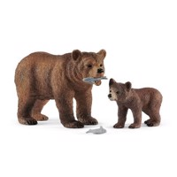 Schleich Female Grizzly Bear with Grizzly Bear