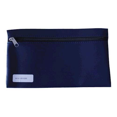 School pouch with zipper 15x26cm skai dark blue