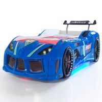 Speed tuning 4Wd car bed w led light and sound Blue