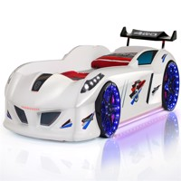 Speedy turbo tech car bed w led light and sound white