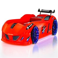 Speedy turbo tech car bed w led light and sound red