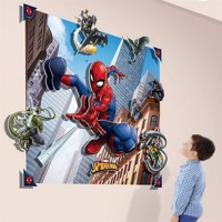 Spiderman 3D Vægdekoration - Wallstickers / Tapet