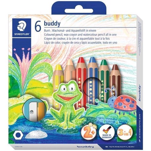 Staedtler - Buddy 140 - Chunky 3in1 coloured pencils in a cardboard box with 6 colours