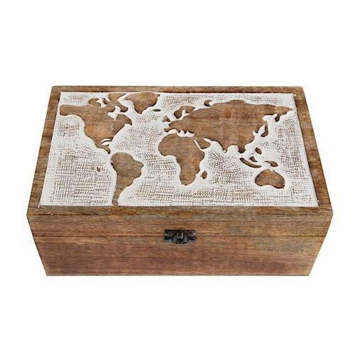 Storage chest with World map Mango Wood
