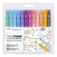 Tombow - 12 Twintone Markers - Pastel