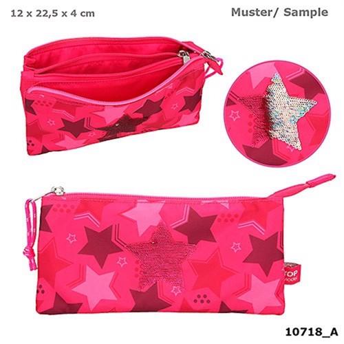 Topmodel pencilcase w sequin star pink