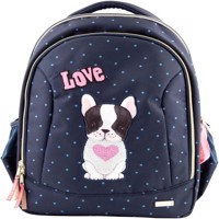Top model schoolbag w dog blue