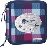 Top Model  Trippel Pencil Case Smiley Sequense  Blue 0010206