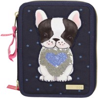 Top model trippel pencilcase w dog blue