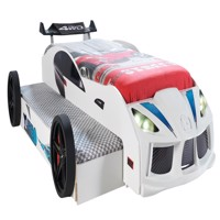 Turbo twin car bed w led light and sound white
