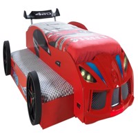 Turbo twin car bed w led light and sound red